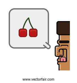 person thinking in cherries