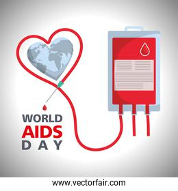 world aids day with blood bag