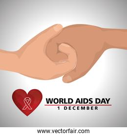 world aids day banner with hands and heart
