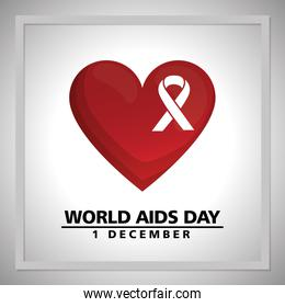 world aids day with ribbon and heart