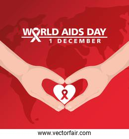 world aids day with hands and heart