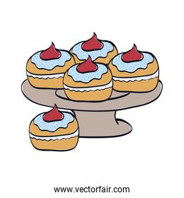 delicious cupcakes sweet in tray