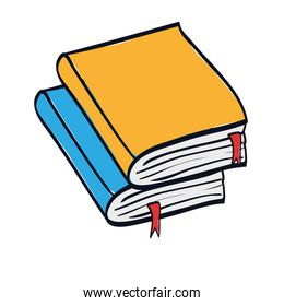 pile text books isolated icon