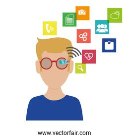 man with smart glasses and apps menu