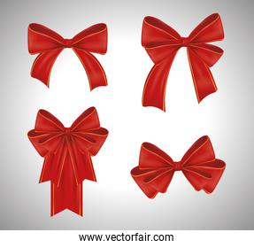 set of red ribbons bowties decoration