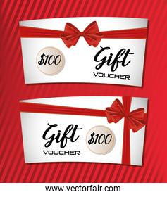 gift voucher card with ribbon red