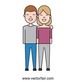 couple with casual clothes icon