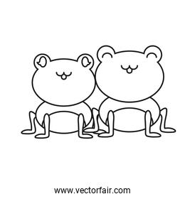 couple of cute frogs icon
