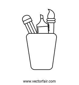cup with drawing utensils design
