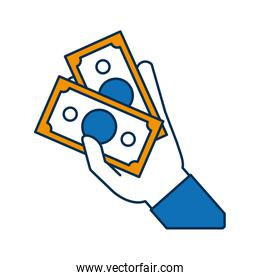 hand with money bill icon