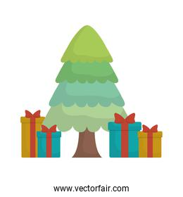 christmas tree with gift boxes icon