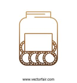 bottle with money coins icon
