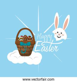 happy easter rabbit day icon