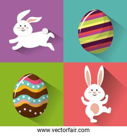 happy easter rabbit eggs day icon