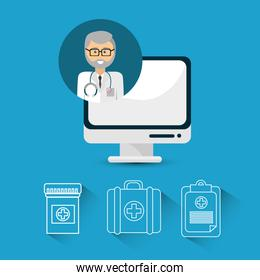 hospital doctor computer icon
