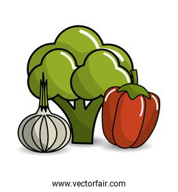 broccoli, garlic and red pepper vegetable icon