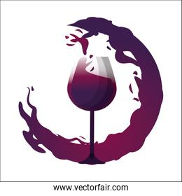 glass splashing with bubble of wine icon