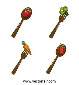 organic vegetables with spoons icon