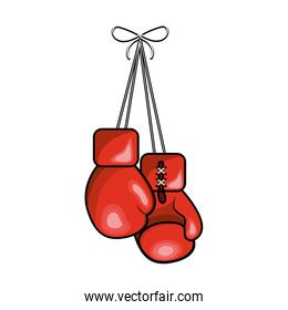 color boxing gloves hanging icon