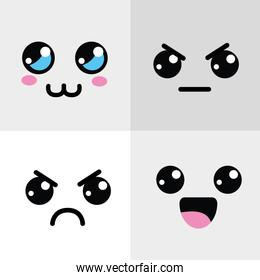 kawaii happy and angry face icon