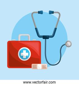 color healthcare, stethoscope and band aid icon