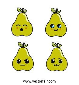 kawaii pear diferents faces icon