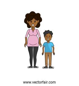 woman pregnant and her son icon