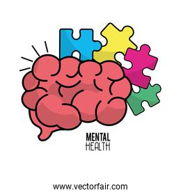 mental health brain with puzzle tokens