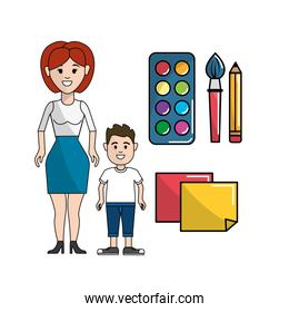 teacher and student with watercolor tools and papers notes