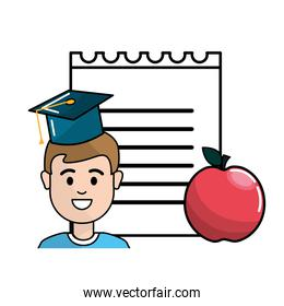 student with hat graduation, notebook papper and apple