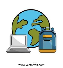 global planet with laptop and backpack tool
