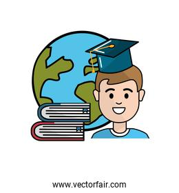 student with hat graduation, global planet and books