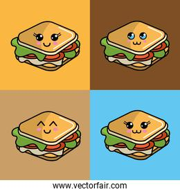 kawaii set sandwich icon with beautiful expressions