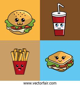 kawaii set fast food icon adorable expression