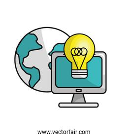 computer with idea bulb and global data