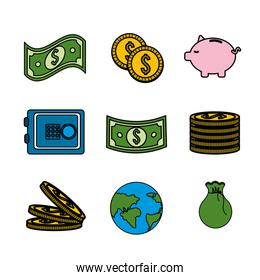 global coins and bills money with tools save