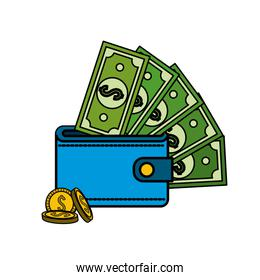 green bill dolar inside wallet with coins