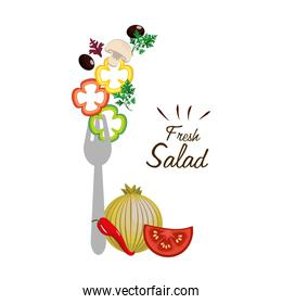 delicious healthy fresh vegetable with fork