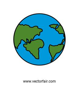 earth planet with global geographys continents