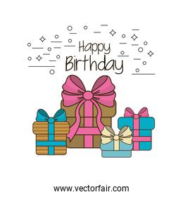 happy birthday gifts present with ribbon decoration