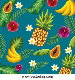delicious fruits with beauty plants and flowers