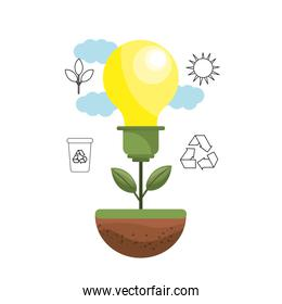 bulb plant with leaves and environment symbols