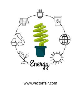 save bulb with environment icons to care planet