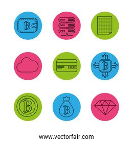 digital and electronic buttons elements to currency icons