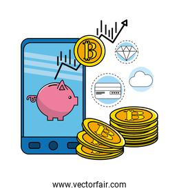 smartphone with bitcoin currency and digital icons
