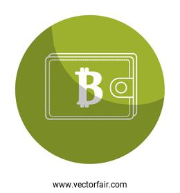 sticker bitcoin symbon in the wallet to save money