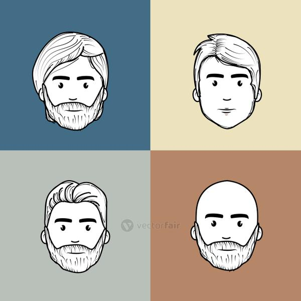 cute men face with hairstyle and expression
