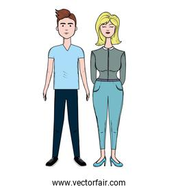 nice couple with hairstyle and casual wear