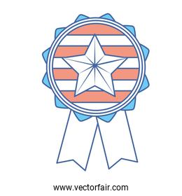 emblem with star inside and ribbon design