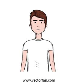 cute man with haistyle and t-shirt